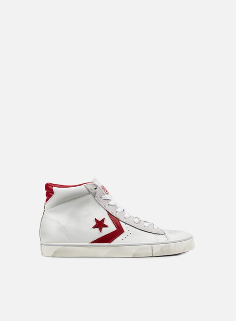 sneakers converse pro leather vulc mid star white tango red
