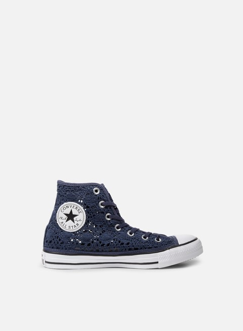 sneakers converse wmns all star hi crochet navy