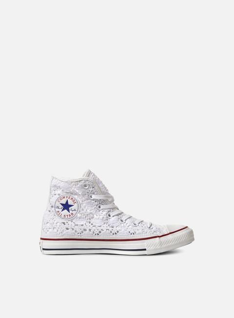 Converse WMNS All Star Hi Crochet Donna, Optical White