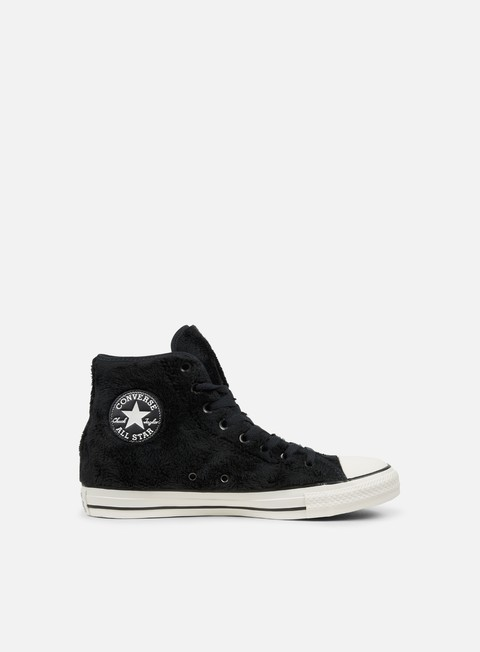 sneakers converse wmns all star hi faux fur black black white