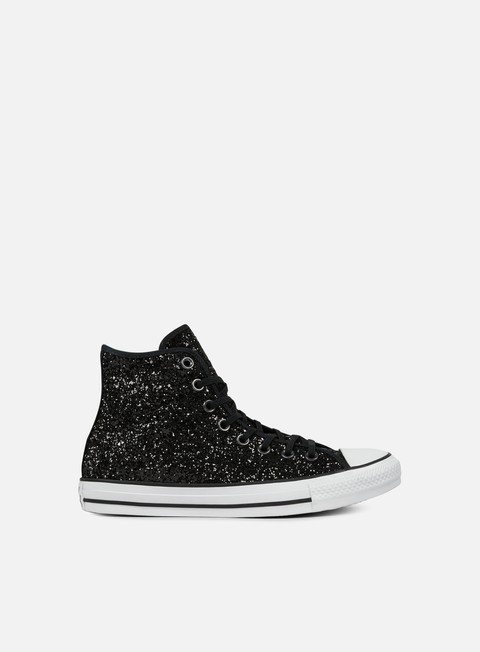 sneakers converse wmns all star hi glittery black white black