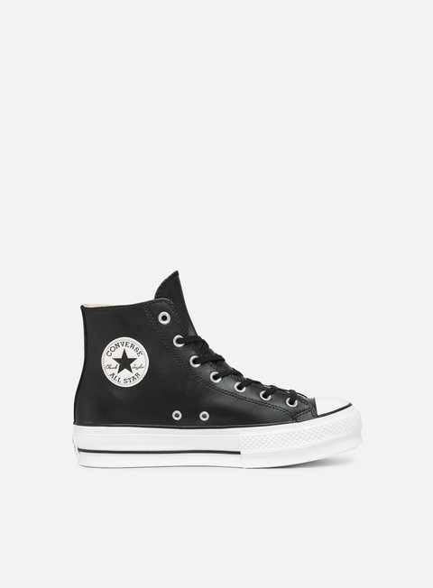 sneakers converse wmns all star lift hi clean leather black black white