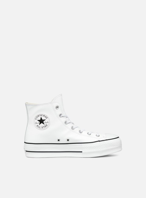 sneakers converse wmns all star lift hi clean leather white black white