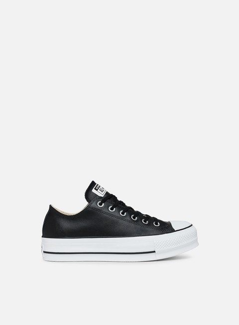 sneakers converse wmns all star lift low clean leather black black white