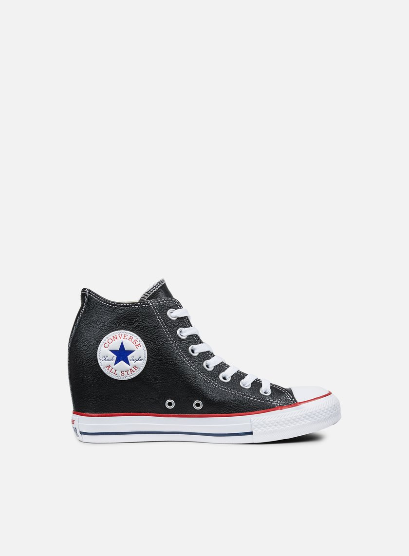 Converse - WMNS All Star Mid Lux Leather, Black/Black/White