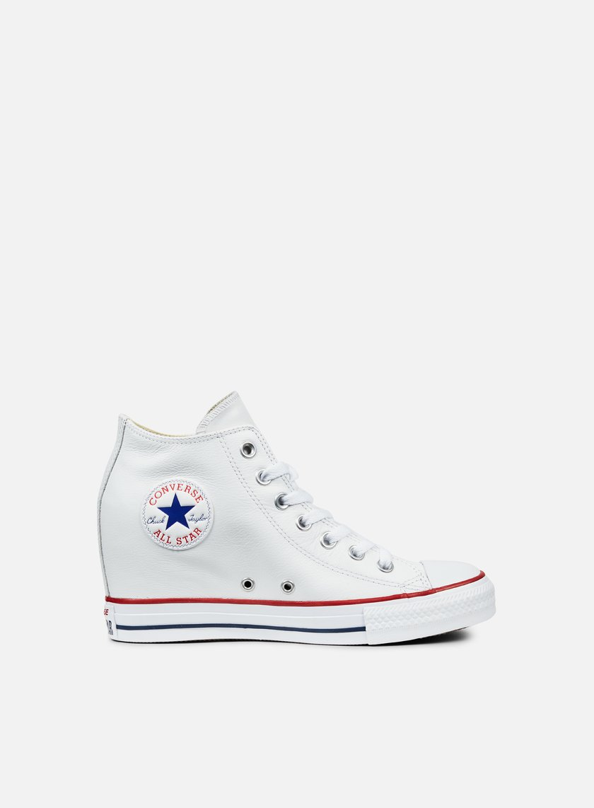 Converse - WMNS All Star Mid Lux Leather, White/White/Clematis Blue
