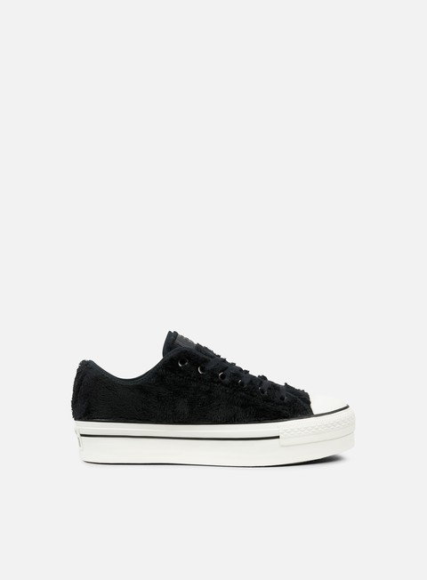 sneakers converse wmns all star platform ox faux fur black black white