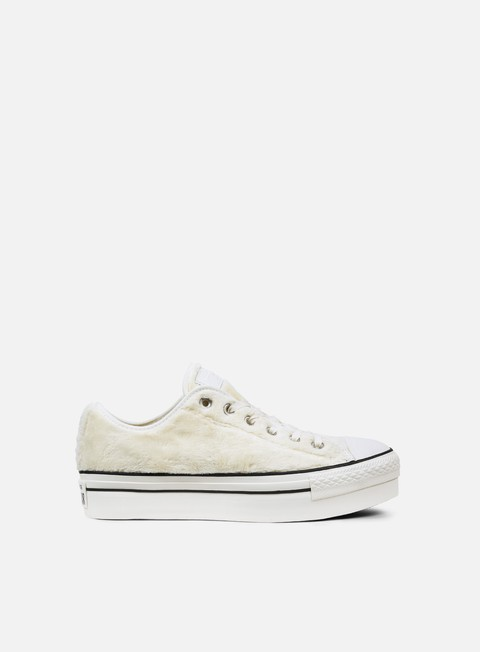 sneakers converse wmns all star platform ox faux fur egret black white