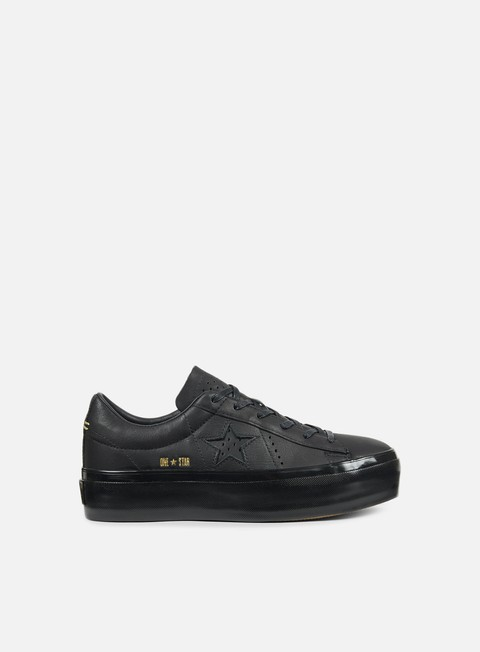 sneakers converse wmns one star platform ox premium leather black black black