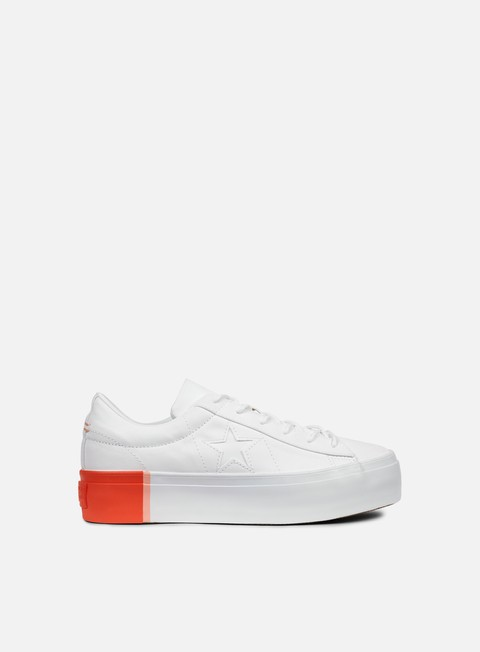 sneakers converse wmns one star platform ox white bright poppy white