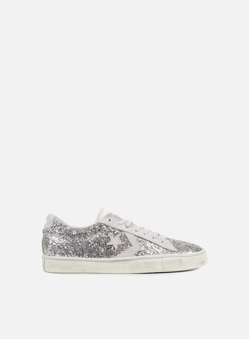 Converse - WMNS Pro Leather Vulc Distressed Ox, Silver/Mouse/Turtle Dove