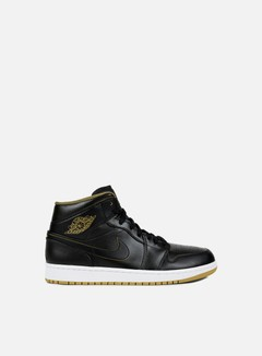 Jordan - Air Jordan 1 Mid, Black/Metallic Gold/White