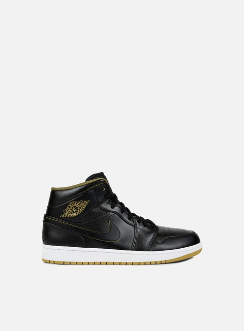 sneakers jordan air jordan 1 mid black metallic gold white