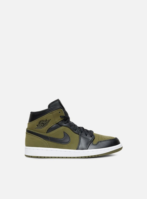 sneakers jordan air jordan 1 mid olive canvas black white
