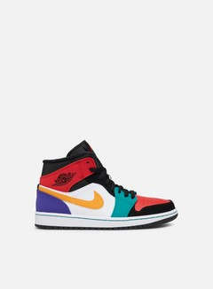 Jordan - Air Jordan 1 Mid, White/University Red/Black/Turbo Green