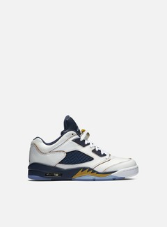 Jordan - Air Jordan 5 Retro Low, White/Metallic Gold Star/Mid Navy 1