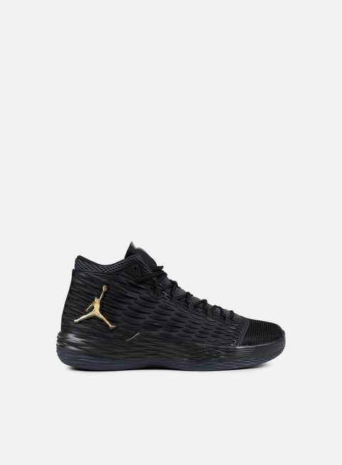 sneakers jordan melo m13 black metallic gold anthracite
