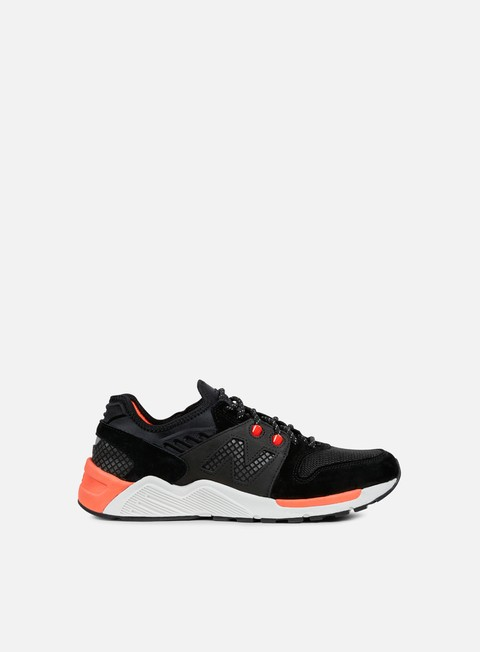 sneakers new balance ml009 suede mesh black orange