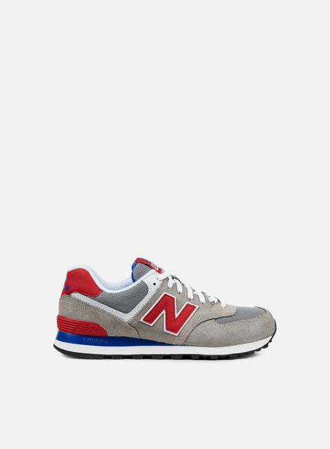 sneakers new balance ml574 suede mesh grey red
