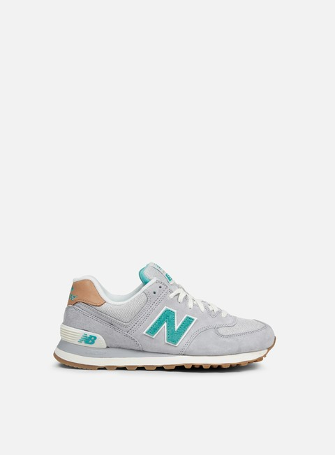 sneakers new balance wmns wl574 pigskin canvas grey green