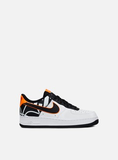Nike - Air Force 1 07 LV8, White/Black/Total Orange