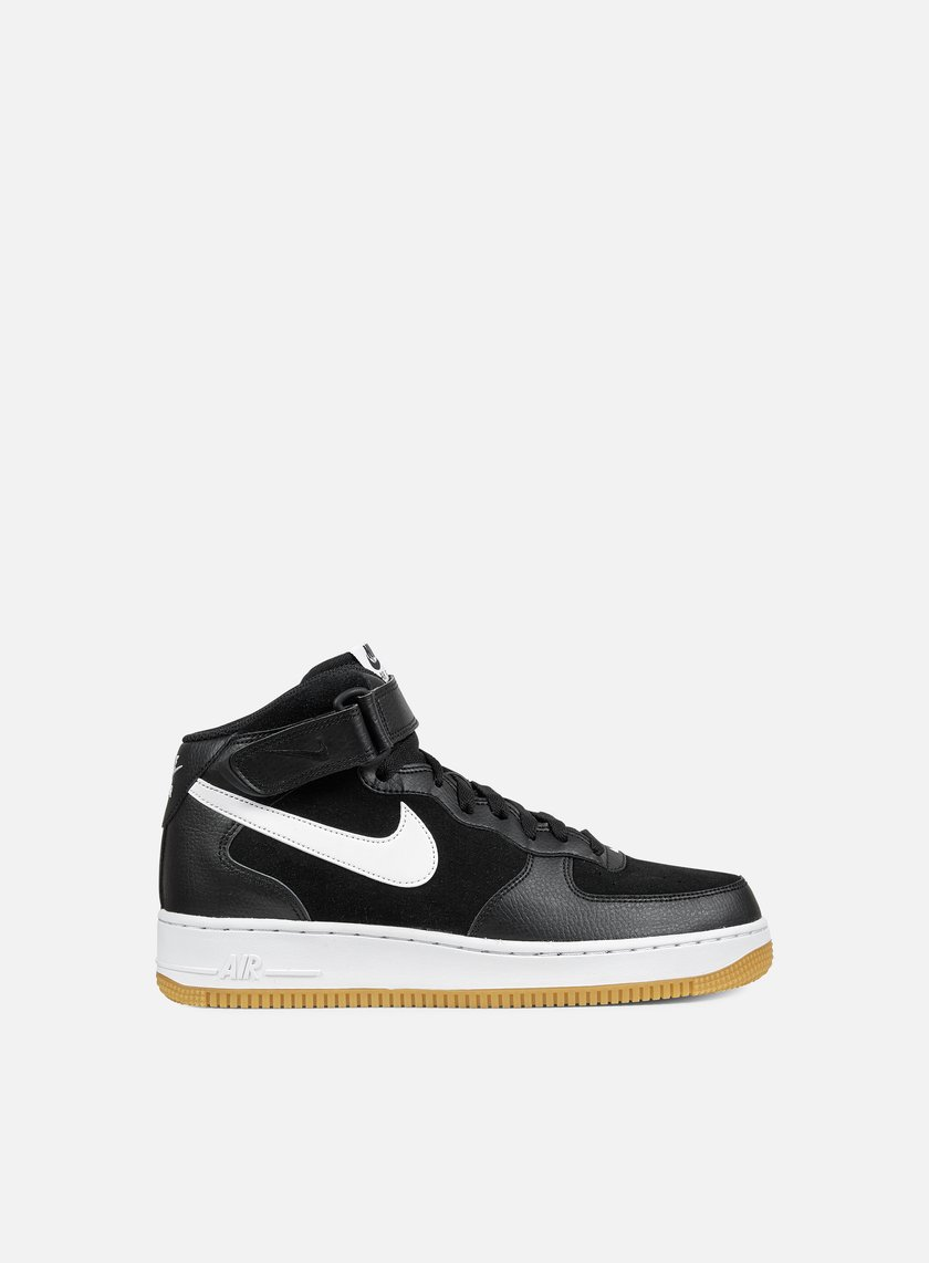 Nike - Air Force 1 Mid 07, Black/White/Gum Medium Brown