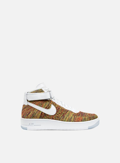 sneakers nike air force 1 ultra flyknit mid volt white bright crimson