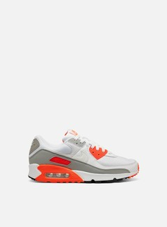 Nike - Air Max 90, White/White/Hyper Orange/Lt Smoke Grey