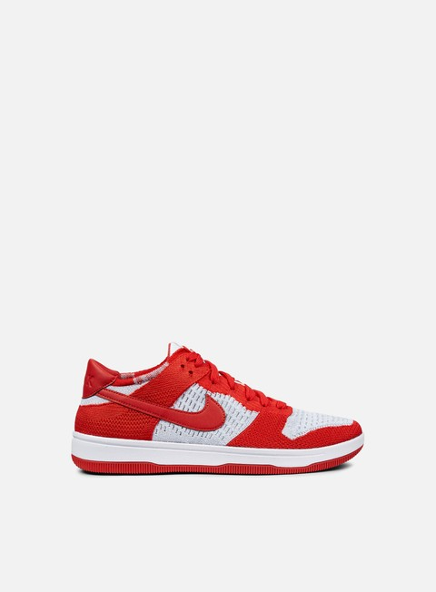 sneakers nike dunk flyknit university red white wolf grey
