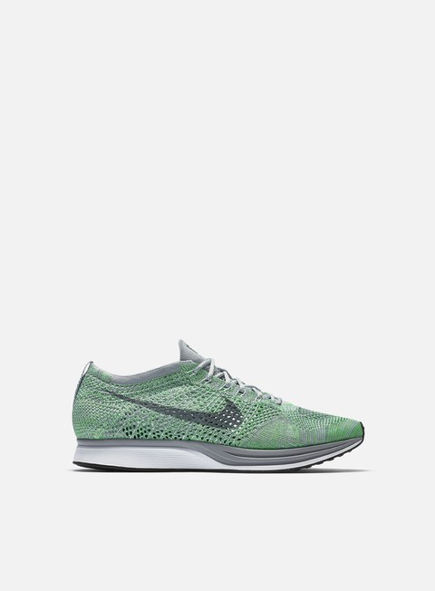 sneakers nike flyknit racer white cool grey ghost green