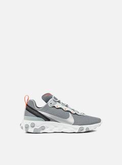 Nike - React Element 55, Cool Grey/Metallic Silver/Hyper Crimson