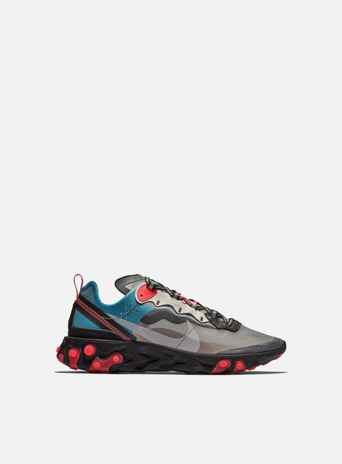 sneakers nike react element 87 black cool grey blue chill solar red