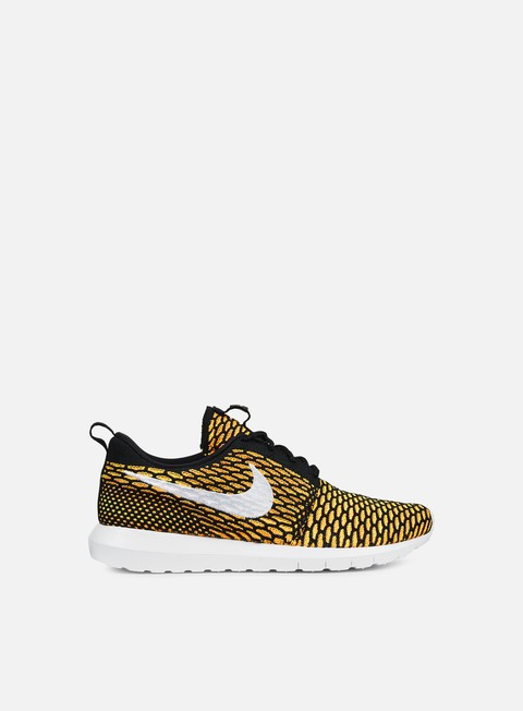 sneakers nike roshe nm flyknit black white total orange