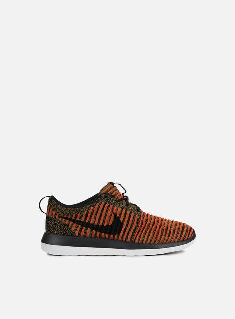 sneakers nike roshe two flyknit black white max orange