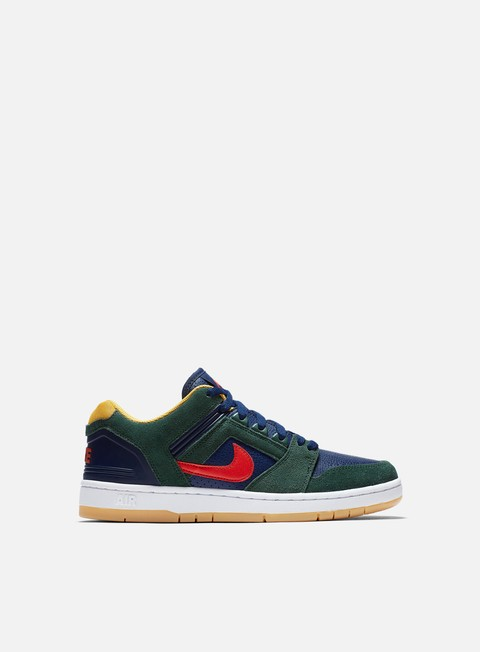 sneakers nike sb air force ii low midnight green habanero red