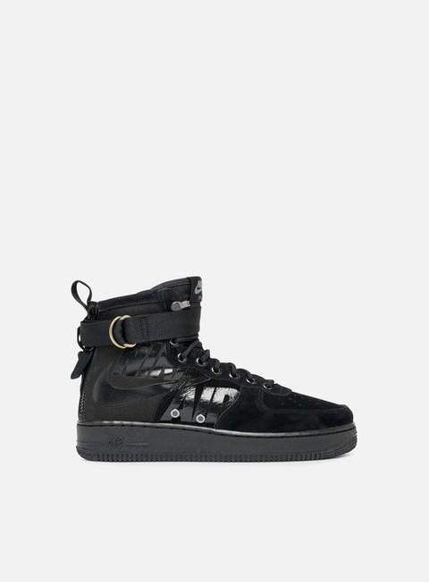 sneakers nike sf air force 1 mid black black cool grey