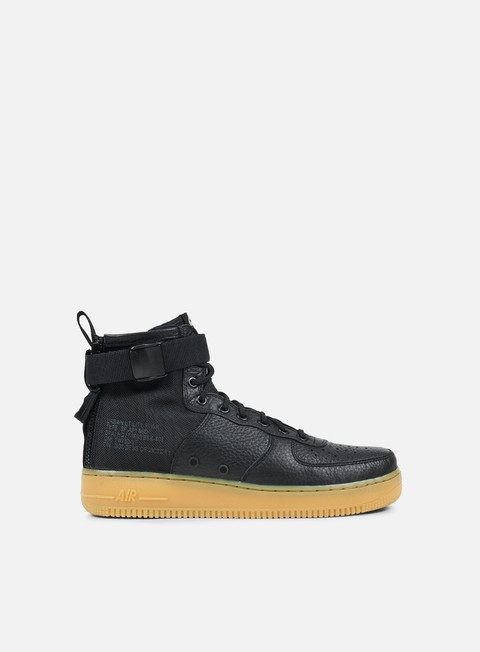 sneakers nike sf air force 1 mid black black gum light brown