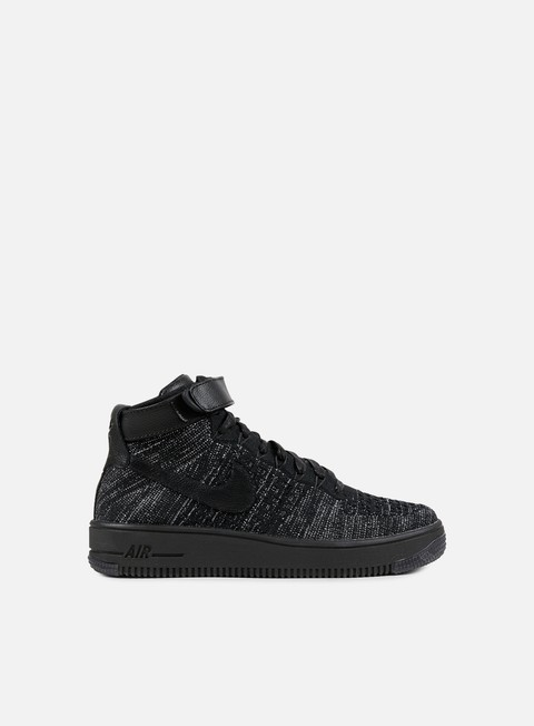 sneakers nike wmns air force 1 flyknit black black white