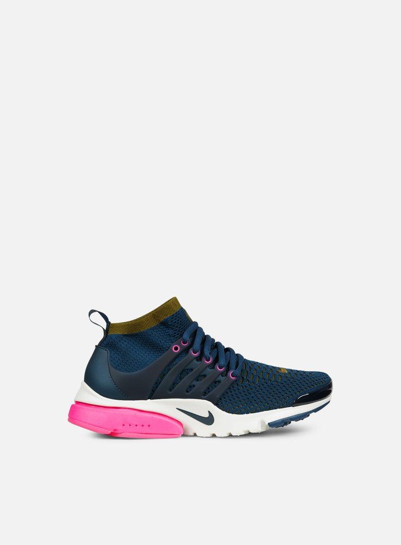 Nike - WMNS Air Presto Flyknit Ultra, Midnight Turquoise/Olive Flak/Pink Blast