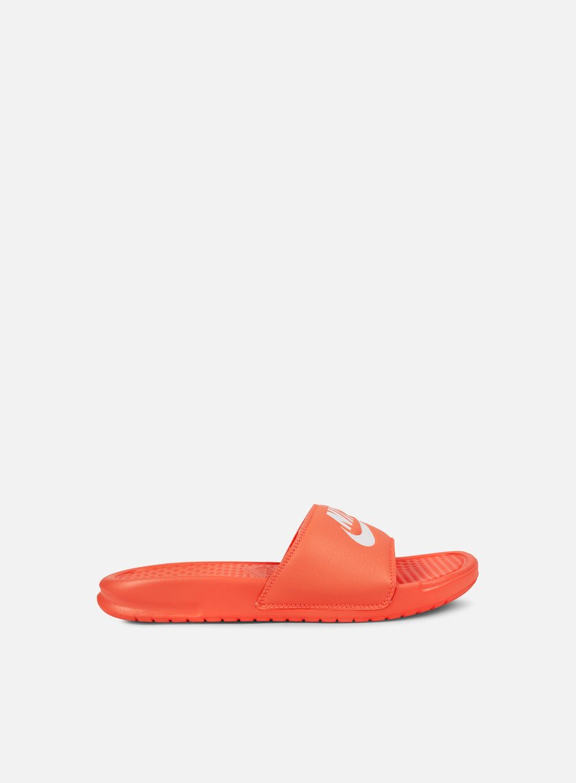 Nike - WMNS Benassi JDI, Bright Mango/White/Bright Mango