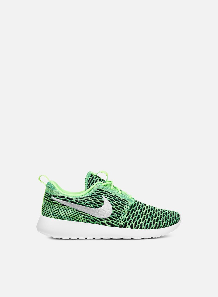 Nike - WMNS Roshe One Flyknit, Voltage Green/White/Lucid Green