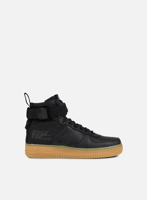sneakers nike wmns sf air force 1 mid black black gum light brown