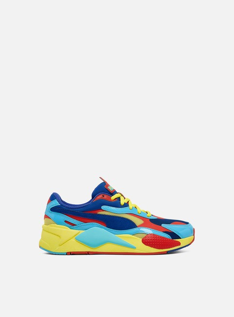 red blue and yellow pumas
