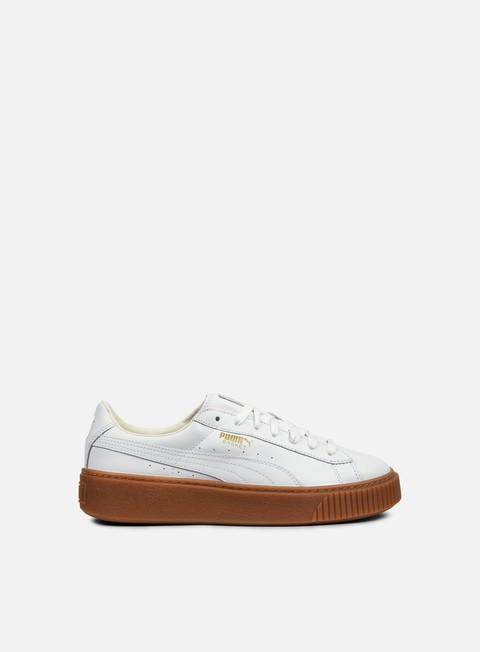 sneakers puma wmns basket platform core puma white puma white
