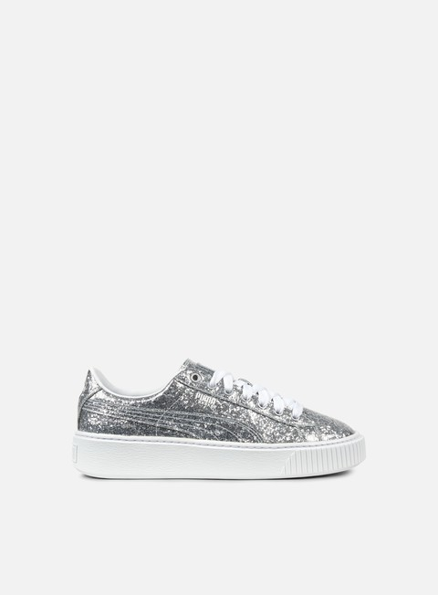sneakers puma wmns basket platform glitter silver silver
