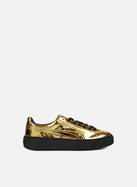 sneakers puma wmns basket platform metallic gold gold puma black