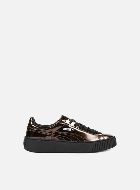 sneakers puma wmns basket platform metallic puma black black puma black