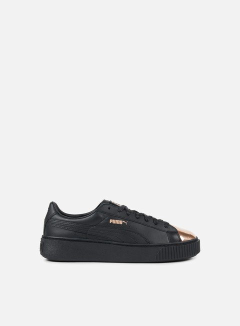 sneakers puma wmns basket platform metallic puma black rose gold