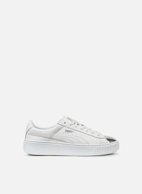sneakers puma wmns basket platform metallic puma white puma silver