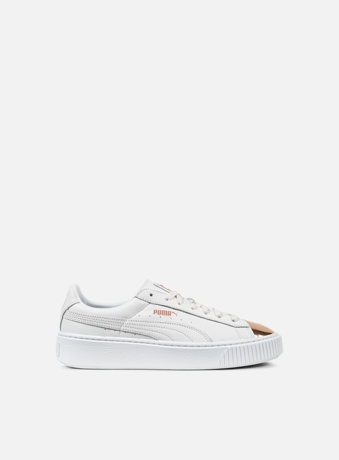 sneakers puma wmns basket platform metallic puma white rose gold